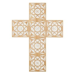 """Wall Cross-Carved Wood (16"""")"""