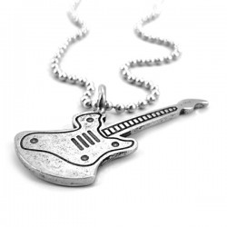 Necklace-Guitar Silver on...
